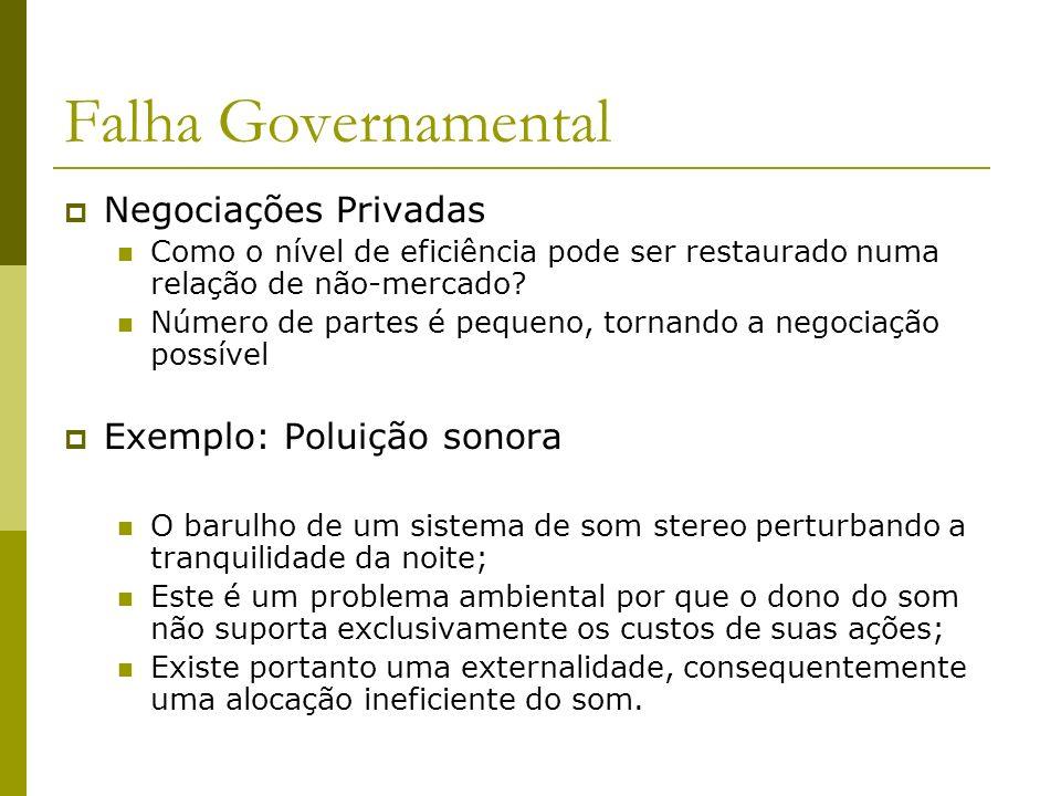 Falha Governamental Negociações Privadas Como o nível de eficiência pode ser restaurado numa relação de não-mercado? Número de partes é pequeno, torna