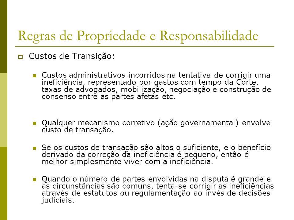 Regras de Propriedade e Responsabilidade Custos de Transição: Custos administrativos incorridos na tentativa de corrigir uma ineficiência, representad