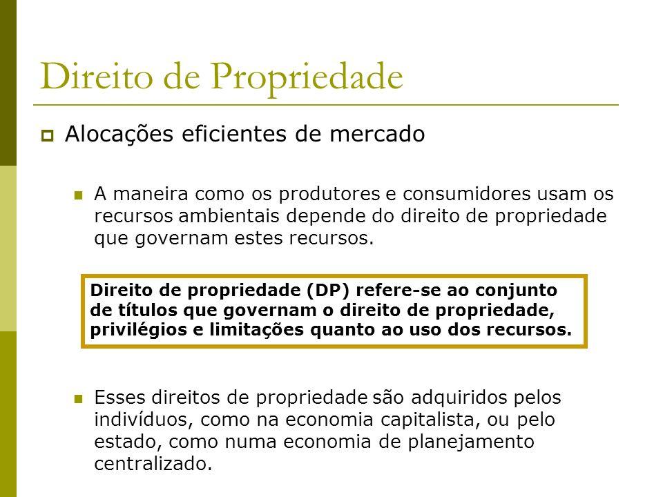 Alocações eficientes de mercado A maneira como os produtores e consumidores usam os recursos ambientais depende do direito de propriedade que governam