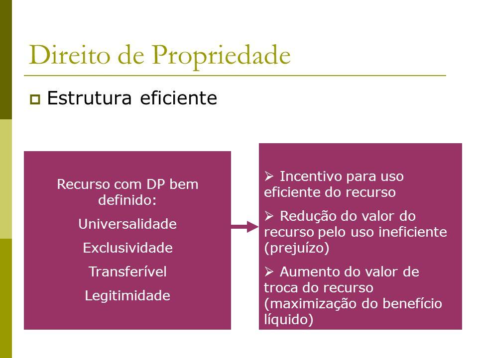 Direito de Propriedade Estrutura eficiente Recurso com DP bem definido: Universalidade Exclusividade Transferível Legitimidade Incentivo para uso efic