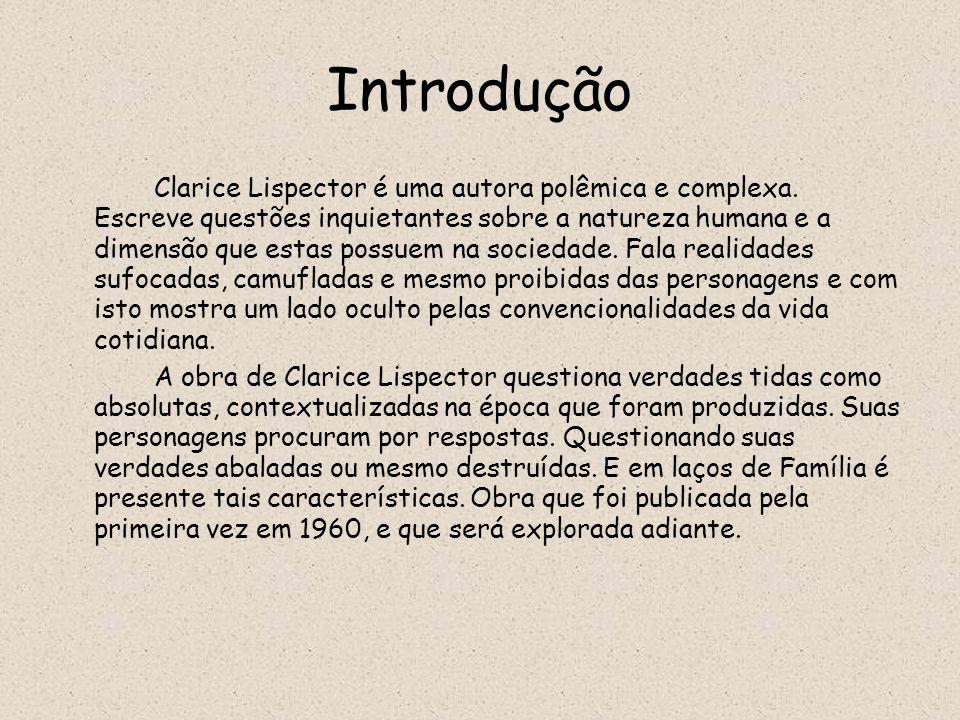 Introdução Clarice Lispector é uma autora polêmica e complexa. Escreve questões inquietantes sobre a natureza humana e a dimensão que estas possuem na