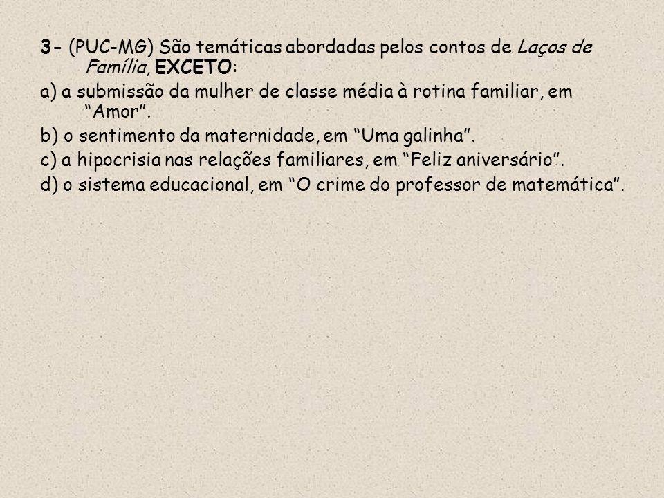 3- (PUC-MG) São temáticas abordadas pelos contos de Laços de Família, EXCETO: a) a submissão da mulher de classe média à rotina familiar, em Amor. b)