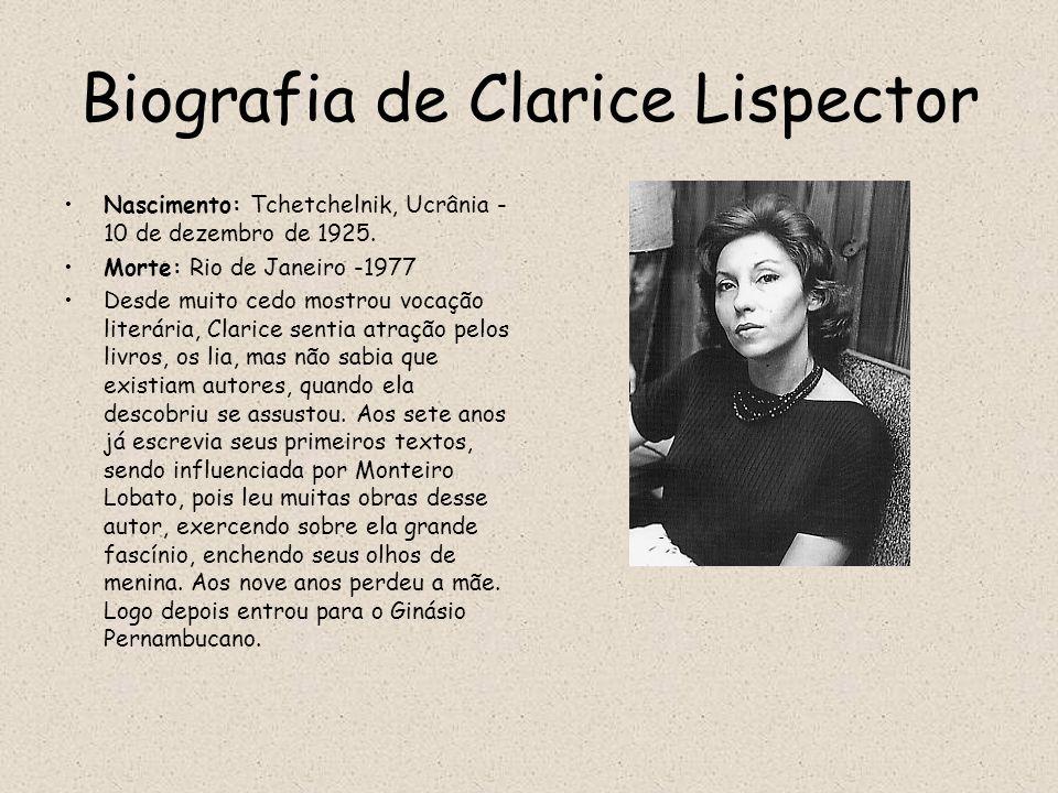 Biografia de Clarice Lispector Nascimento: Tchetchelnik, Ucrânia - 10 de dezembro de 1925. Morte: Rio de Janeiro -1977 Desde muito cedo mostrou vocaçã