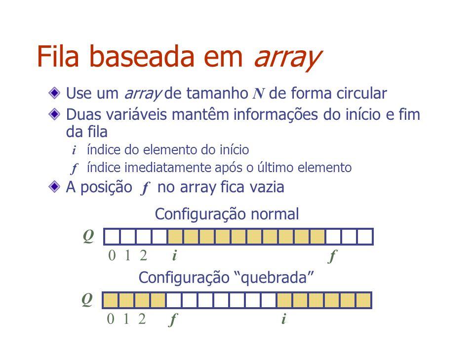Fila baseada em array Use um array de tamanho N de forma circular Duas variáveis mantêm informações do início e fim da fila i índice do elemento do in