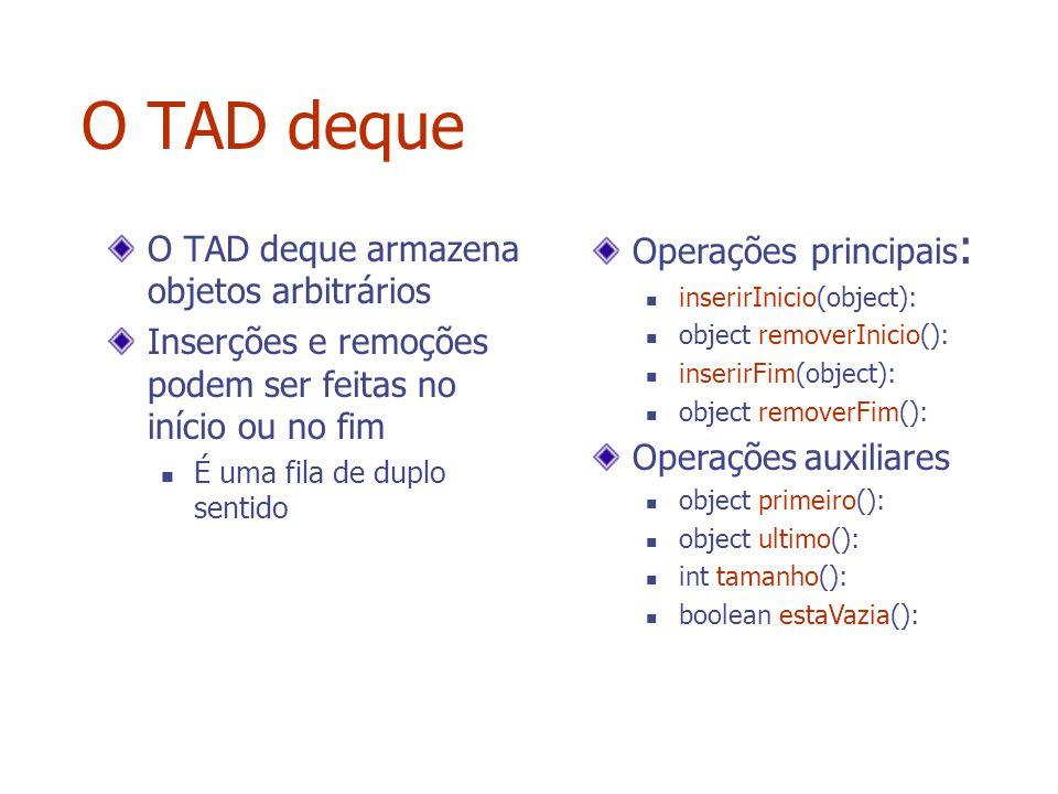 O TAD deque O TAD deque armazena objetos arbitrários Inserções e remoções podem ser feitas no início ou no fim É uma fila de duplo sentido Operações p