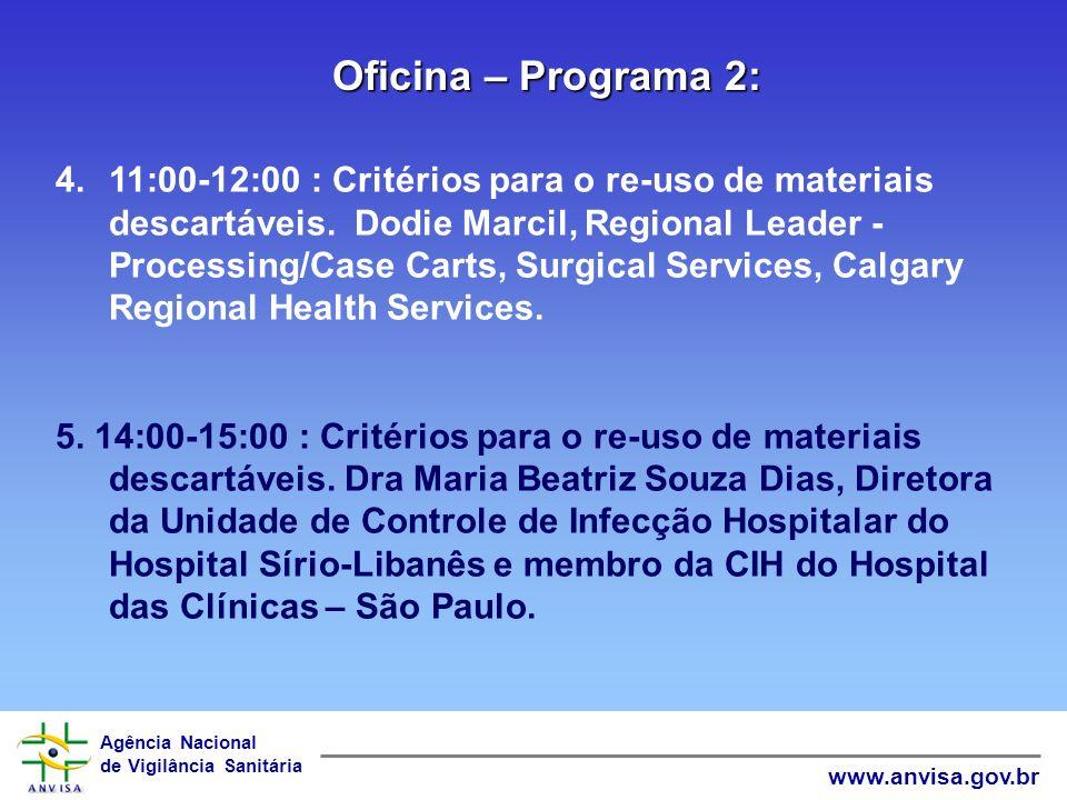 Agência Nacional de Vigilância Sanitária www.anvisa.gov.br Oficina – Programa 1: 2.8:40-9:40: Critérios para a incorporação de tecnologias no hospital