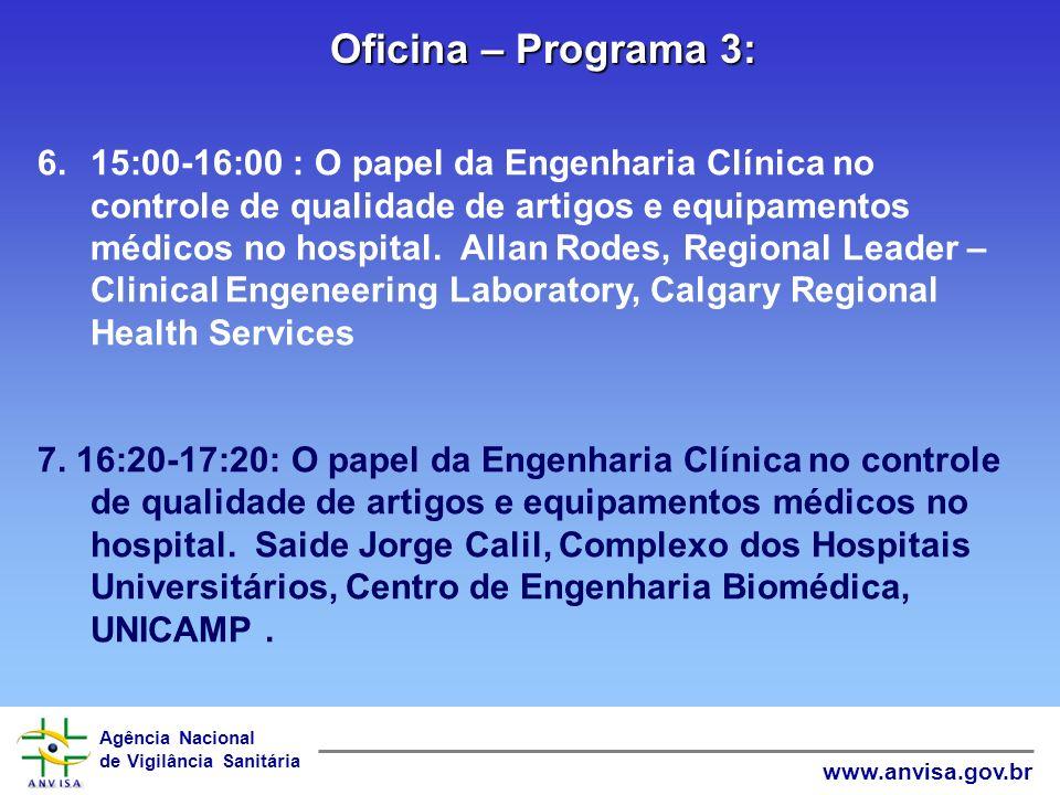 Agência Nacional de Vigilância Sanitária www.anvisa.gov.br Oficina – Programa 2: 4.11:00-12:00 : Critérios para o re-uso de materiais descartáveis. Do