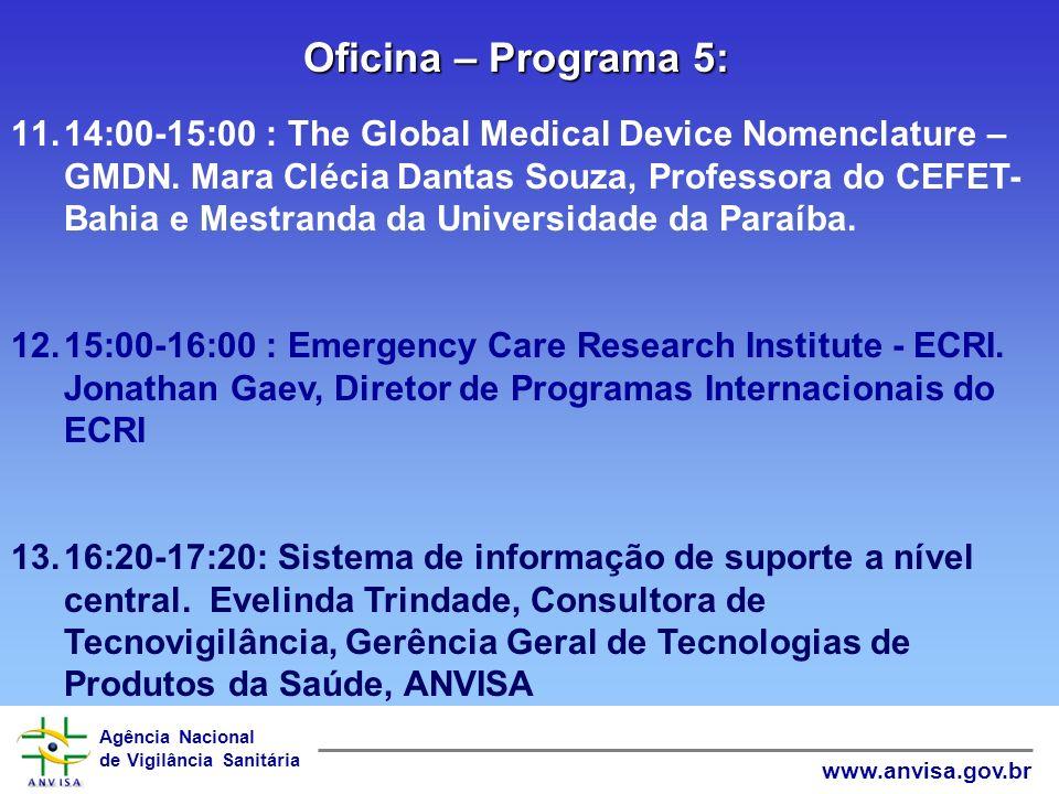 Agência Nacional de Vigilância Sanitária www.anvisa.gov.br 8.8:40-9:40: O processo de certificação de equipamentos médicos. Elizabeth Cavalcanti, INME