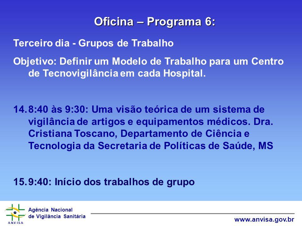 Agência Nacional de Vigilância Sanitária www.anvisa.gov.br 11.14:00-15:00 : The Global Medical Device Nomenclature – GMDN. Mara Clécia Dantas Souza, P