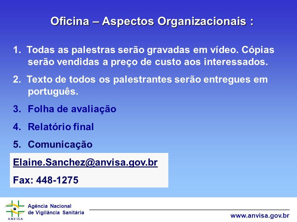 Agência Nacional de Vigilância Sanitária www.anvisa.gov.br 16. 8:30 as 12:00 Leitura dos relatórios de grupo 17. 12:00: Encerramento: Dr. Gonzalo Veci