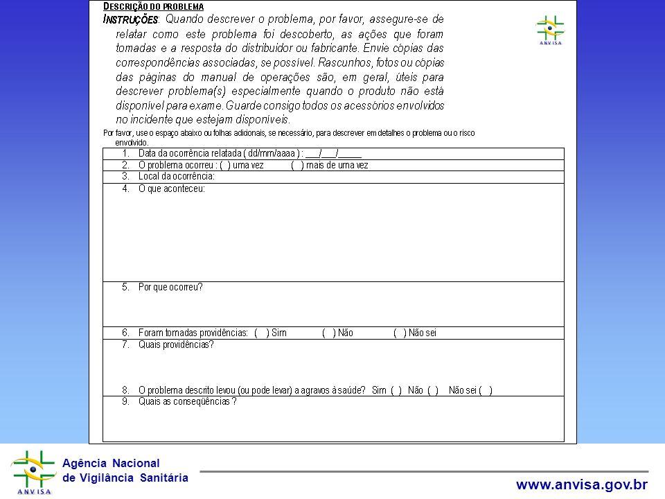 Agência Nacional de Vigilância Sanitária www.anvisa.gov.br Investigação do INCIDENTE Descrição do evento Autópsia (caso de morte) Revisão de prontuári