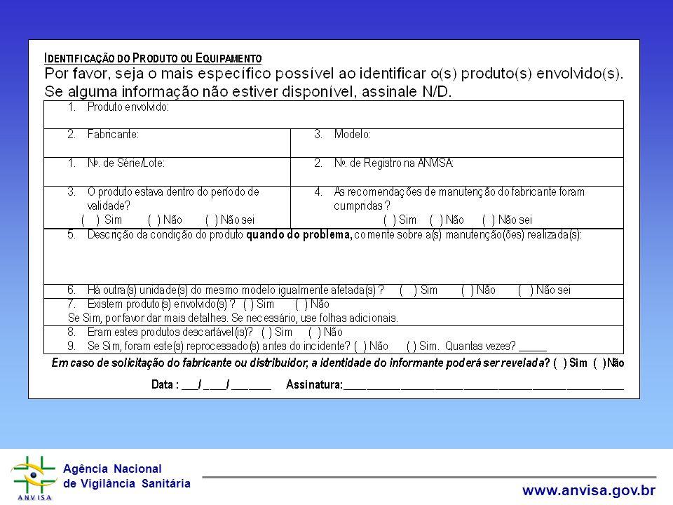 Agência Nacional de Vigilância Sanitária www.anvisa.gov.br Classificação do INCIDENTE Falha de manutenção Falha de operação Falha de montagem Defeito