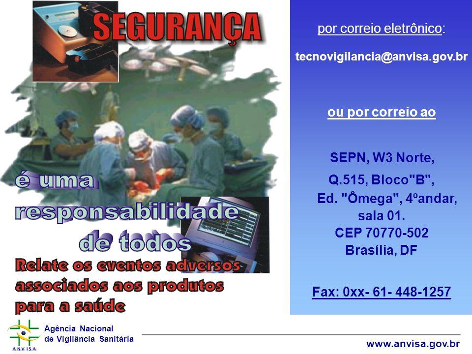 Agência Nacional de Vigilância Sanitária www.anvisa.gov.br Classificação do INCIDENTE Falha de manutenção Falha de manutenção Falha de operação Falha
