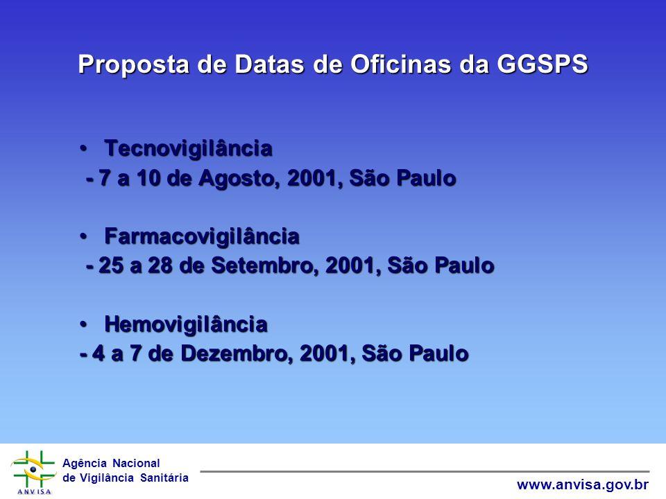 Agência Nacional de Vigilância Sanitária www.anvisa.gov.br Proposta de Reunião das VISAs com a GGSPS Terceira ou Quarta Semana do mês de Agosto de 200