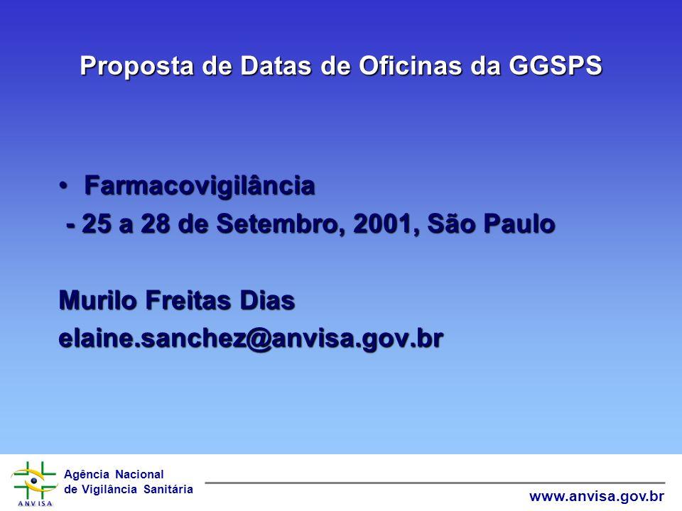 Agência Nacional de Vigilância Sanitária www.anvisa.gov.br Proposta de Datas de Oficinas da GGSPS TecnovigilânciaTecnovigilância - 7 a 10 de Agosto, 2