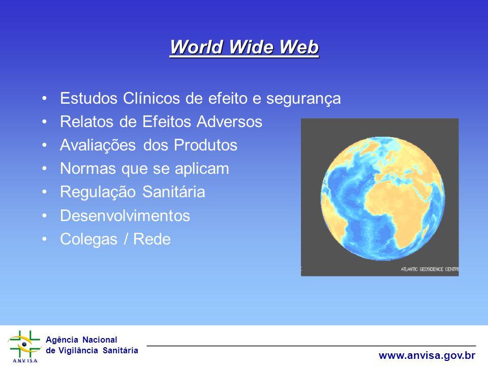 Agência Nacional de Vigilância Sanitária www.anvisa.gov.br World Wide Web Estudos Clínicos de efeito e segurança Relatos de Efeitos Adversos Avaliações dos Produtos Normas que se aplicam Regulação Sanitária Desenvolvimentos Colegas / Rede