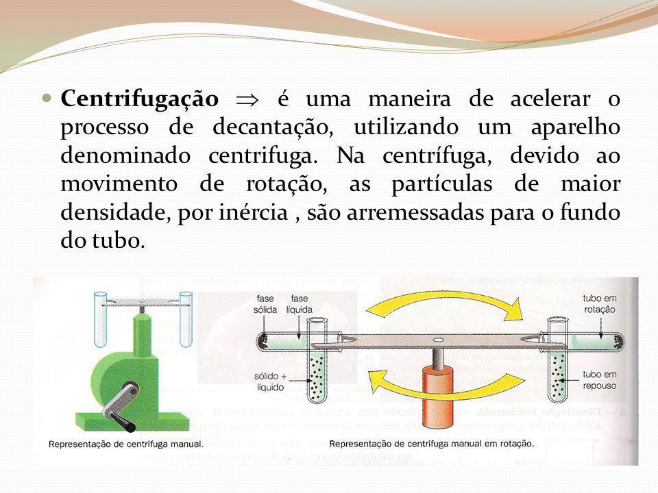 Centrifugação é uma maneira de acelerar o processo de decantação, utilizando um aparelho denominado centrifuga. Na centrífuga, devido ao movimento de