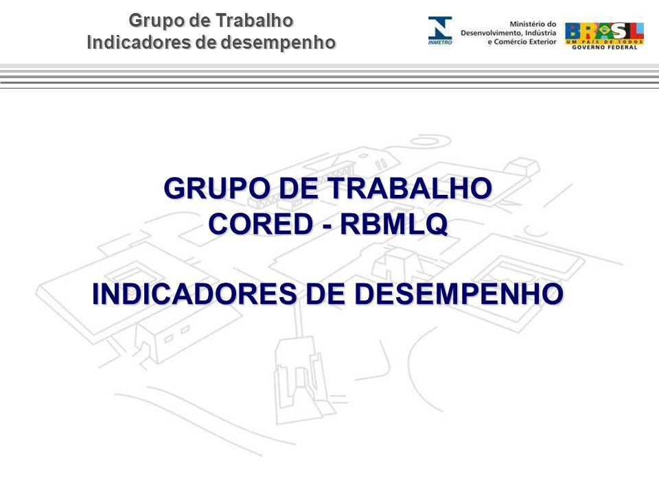 Grupo de Trabalho Indicadores de desempenho GRUPO DE TRABALHO CORED - RBMLQ INDICADORES DE DESEMPENHO