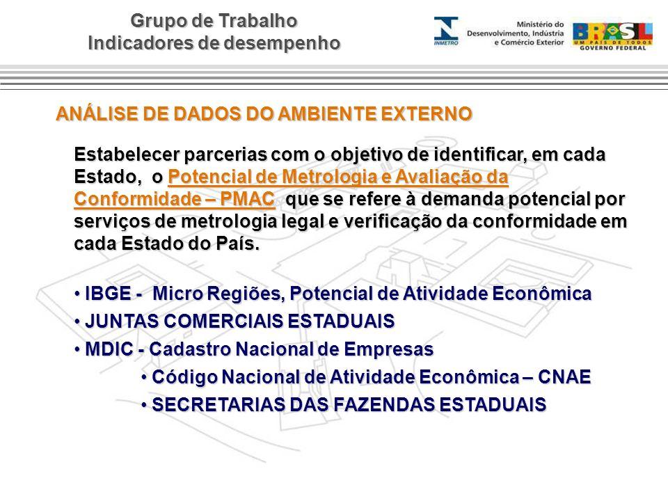Grupo de Trabalho Indicadores de desempenho ANÁLISE DE DADOS DO AMBIENTE EXTERNO Estabelecer parcerias com o objetivo de identificar, em cada Estado,