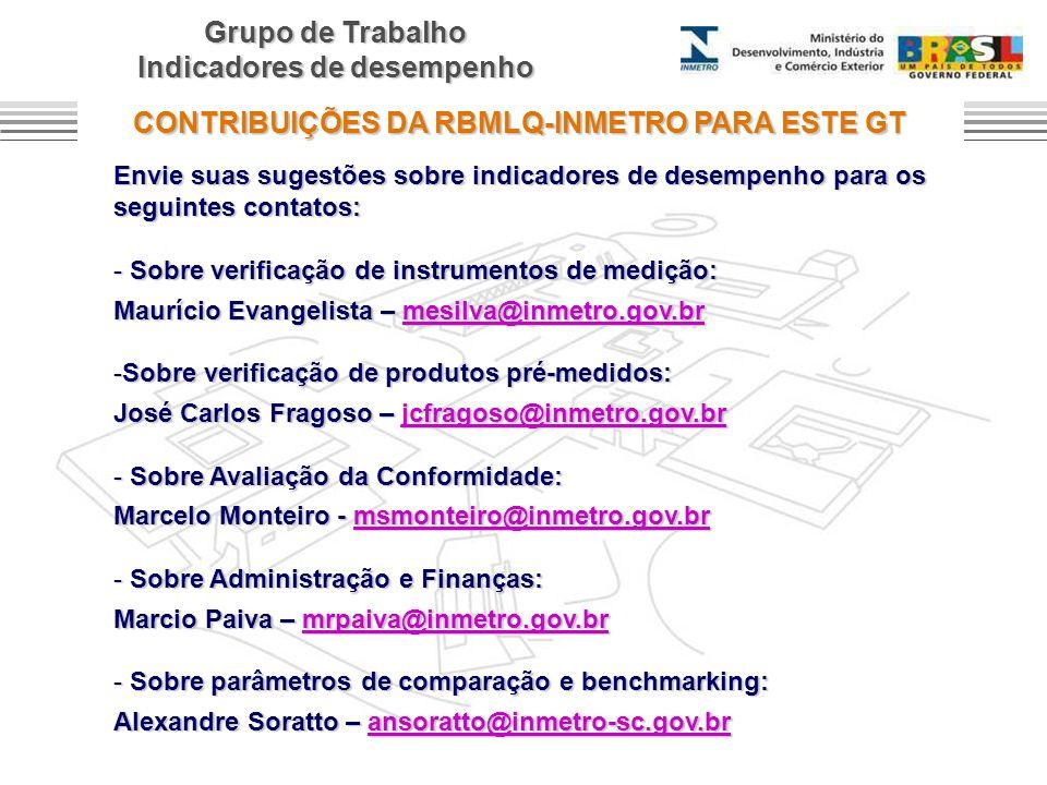 Grupo de Trabalho Indicadores de desempenho CONTRIBUIÇÕES DA RBMLQ-INMETRO PARA ESTE GT Envie suas sugestões sobre indicadores de desempenho para os s