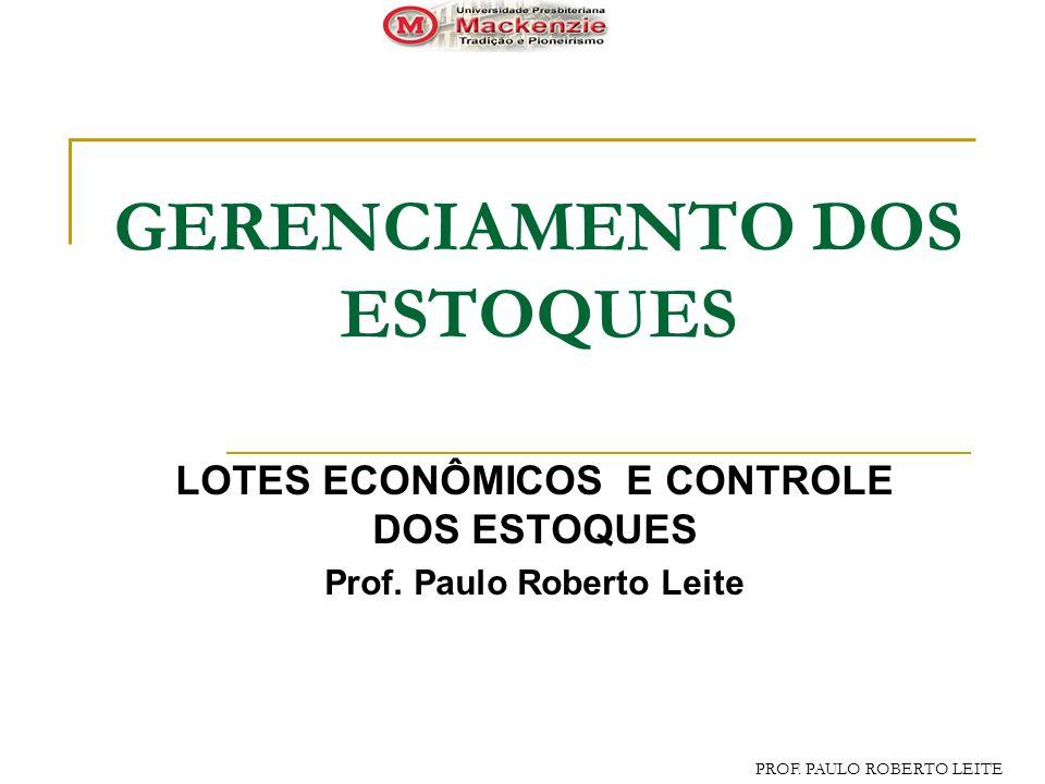 PROF.PAULO ROBERTO LEITE GERENCIAMENTO DOS ESTOQUES LOTES ECONÔMICOS E CONTROLE DOS ESTOQUES Prof.
