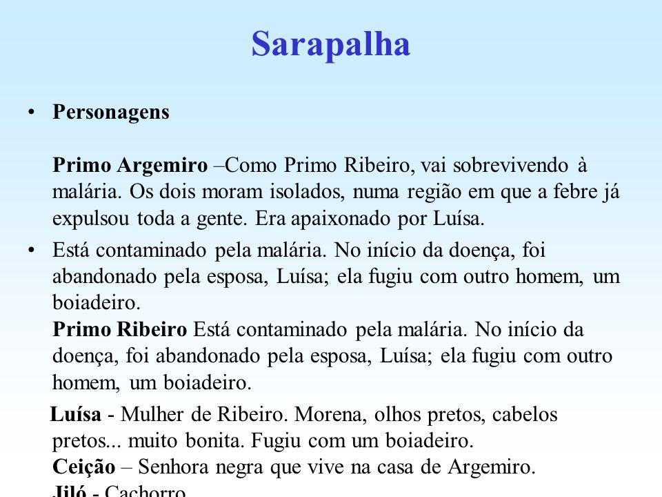 Sarapalha Personagens Primo Argemiro –Como Primo Ribeiro, vai sobrevivendo à malária. Os dois moram isolados, numa região em que a febre já expulsou t
