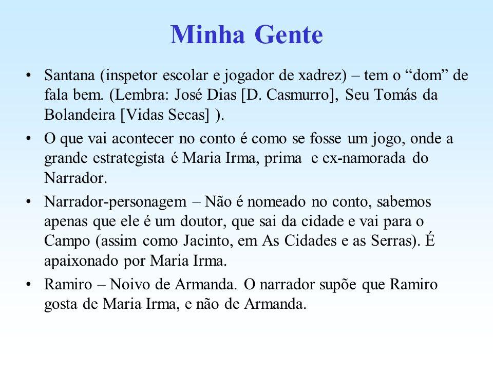 Minha Gente Santana (inspetor escolar e jogador de xadrez) – tem o dom de fala bem. (Lembra: José Dias [D. Casmurro], Seu Tomás da Bolandeira [Vidas S