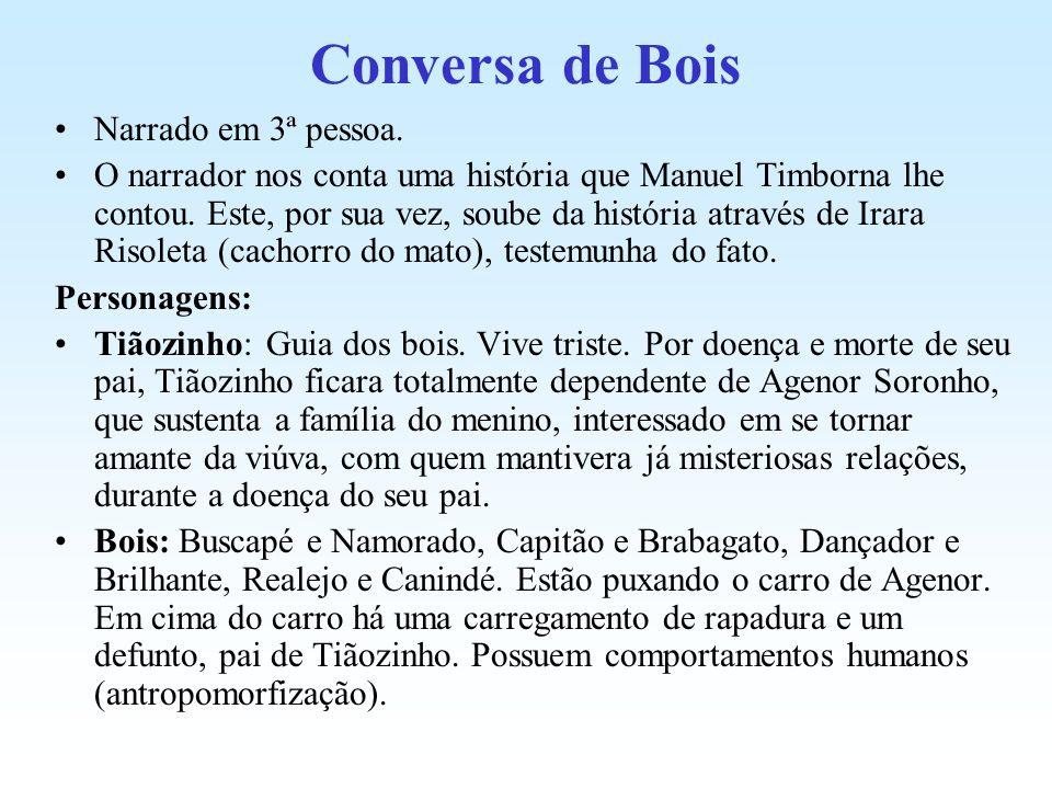 Conversa de Bois Narrado em 3ª pessoa. O narrador nos conta uma história que Manuel Timborna lhe contou. Este, por sua vez, soube da história através