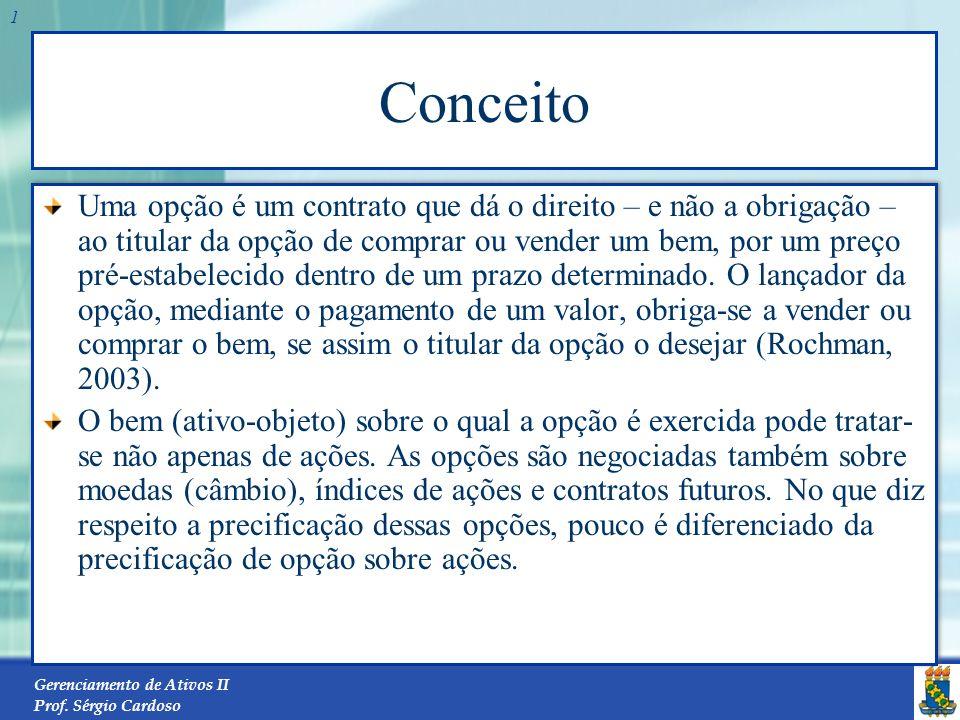 Gerenciamento de Ativos II Prof. Sérgio Cardoso 21 Preço da Opção x Taxa de Juro Livre de Risco