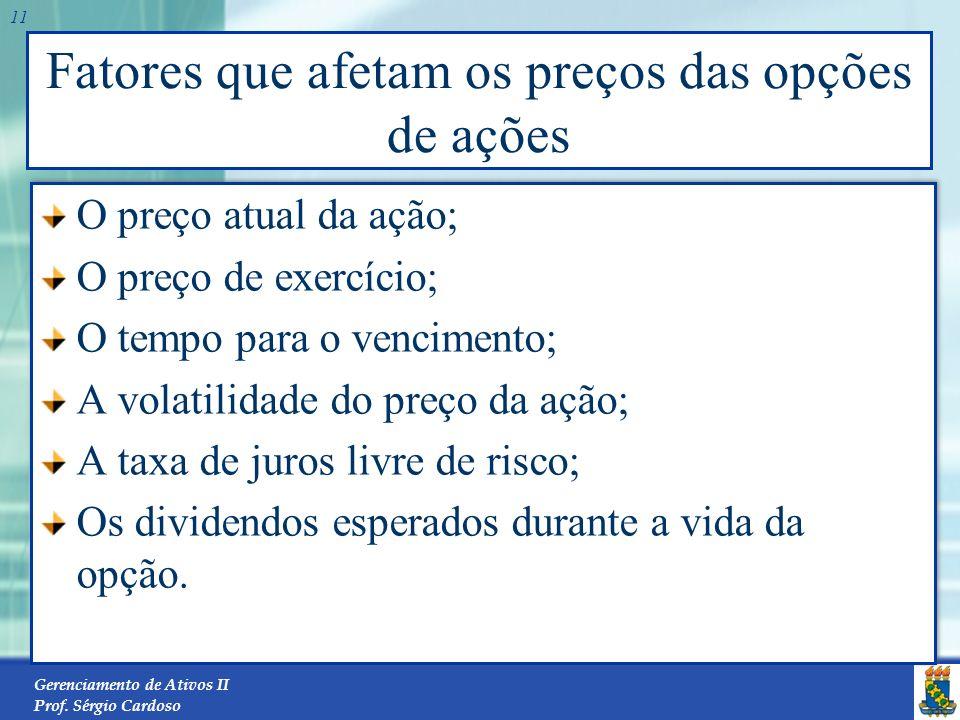 Gerenciamento de Ativos II Prof. Sérgio Cardoso 10 Valor de Mercado, Valor Temporal e Valor Intrínseco de uma Opção de Compra 25 Call STST Perda E Luc
