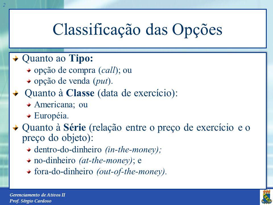 Gerenciamento de Ativos II Prof. Sérgio Cardoso 1 Conceito Uma opção é um contrato que dá o direito – e não a obrigação – ao titular da opção de compr