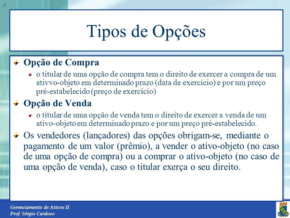 Gerenciamento de Ativos II Prof. Sérgio Cardoso 2 Classificação das Opções Quanto ao Tipo: opção de compra (call); ou opção de venda (put). Quanto à C