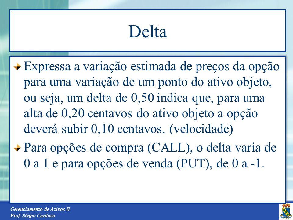Gerenciamento de Ativos II Prof. Sérgio Cardoso 34 O Modelo Black-Scholes: exemplo N(d 1 ) = N(0.52815) = 0.7013 N(d 2 ) = N(0.31602) = 0.62401 )N() 2
