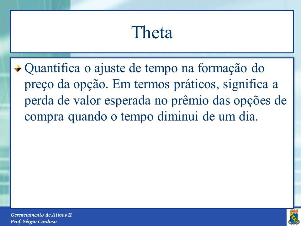 Gerenciamento de Ativos II Prof. Sérgio Cardoso Vega Mede a variação em $ (moeda) que o preço da opção oscila em função da variação de um ponto percen