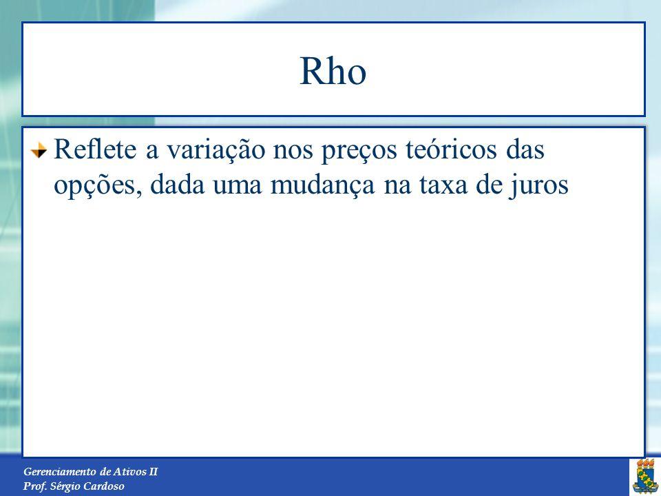 Gerenciamento de Ativos II Prof. Sérgio Cardoso Theta Quantifica o ajuste de tempo na formação do preço da opção. Em termos práticos, significa a perd