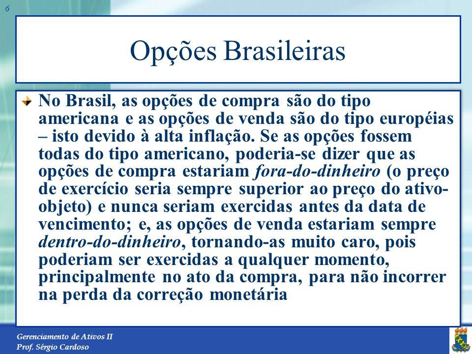 Gerenciamento de Ativos II Prof. Sérgio Cardoso 5 Série das Opções Dentro-do-dinheiro Quando o preço do ativo-objeto é maior do que o preço de exercíc