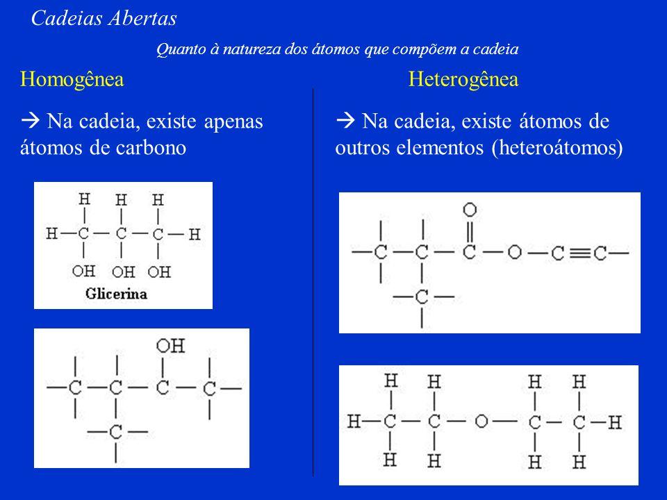 Normal Ramificada Saturada Insaturada Ligações simples entre os átomos de Carbono Ligações duplas ou triplas entre os átomos de Carbono Cadeias Aberta