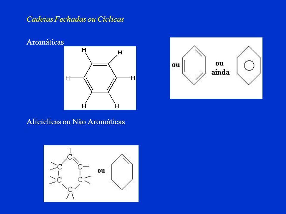 Homogênea Heterogênea Cadeias Abertas Quanto à natureza dos átomos que compõem a cadeia Na cadeia, existe apenas átomos de carbono Na cadeia, existe á