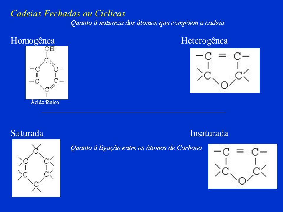 Cadeias Fechadas ou Cíclicas Aromáticas Alicíclicas ou Não Aromáticas