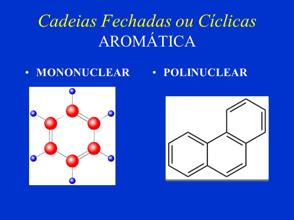 Cadeias Fechadas ou Cíclicas Homogênea Heterogênea Saturada Insaturada Ácido fênico Quanto à ligação entre os átomos de Carbono Quanto à natureza dos