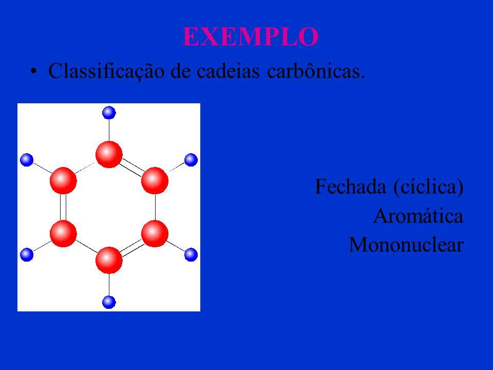 EXEMPLO Classificação de cadeias carbônicas. Fechada (cíclica) Aromática Polinuclear condensado