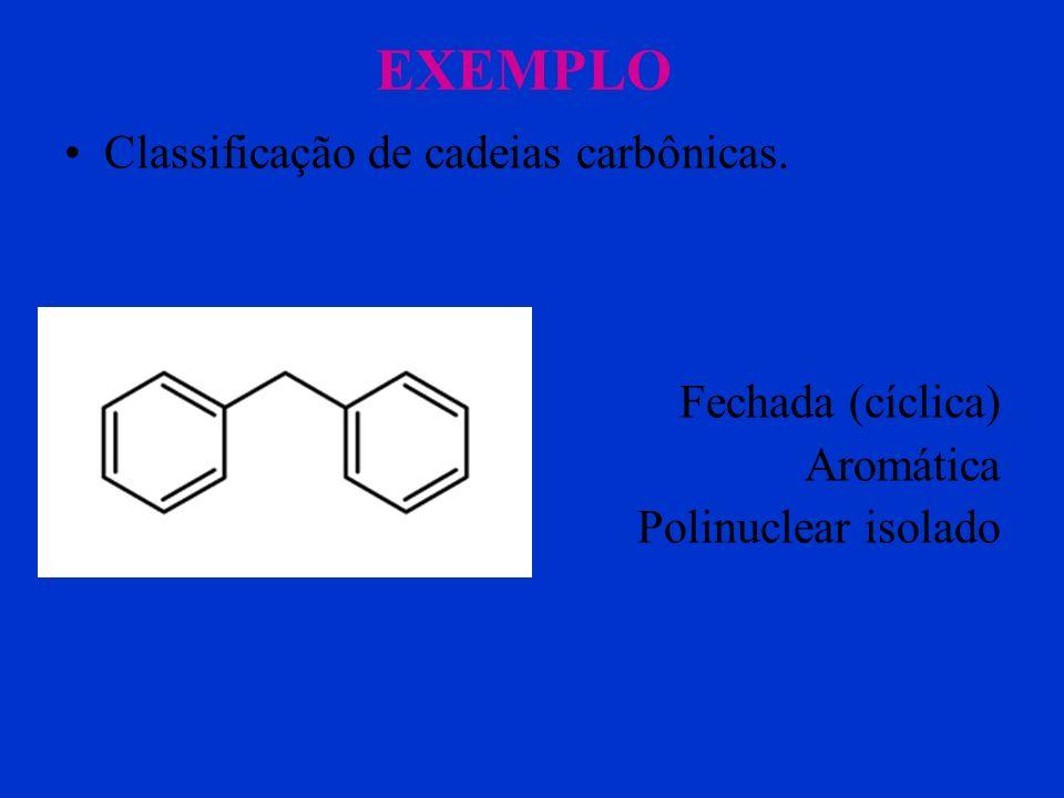 EXEMPLO Classificação de cadeias carbônicas. Fechada (cíclica) Aromática Mononuclear