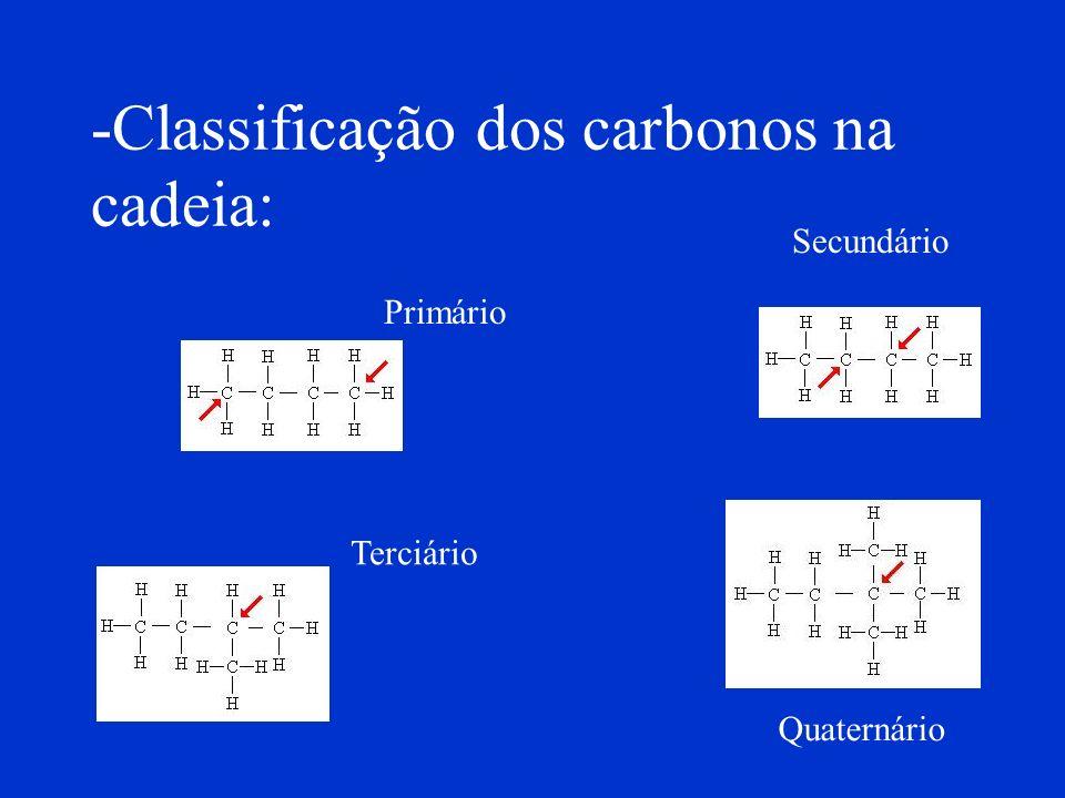 É comum classificarmos um determinado átomo de carbono na cadeia de um composto orgânico pelo número de átomos de carbono que está(ão) diretamente lig