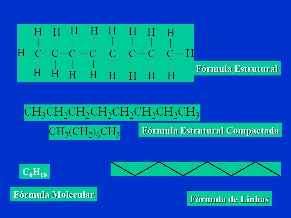Fórmula de estrutura - indica o tipo e a quantidade de átomos que formam uma molécula e o modo como se dispõem. Exemplos de diversos tipos de fórmulas