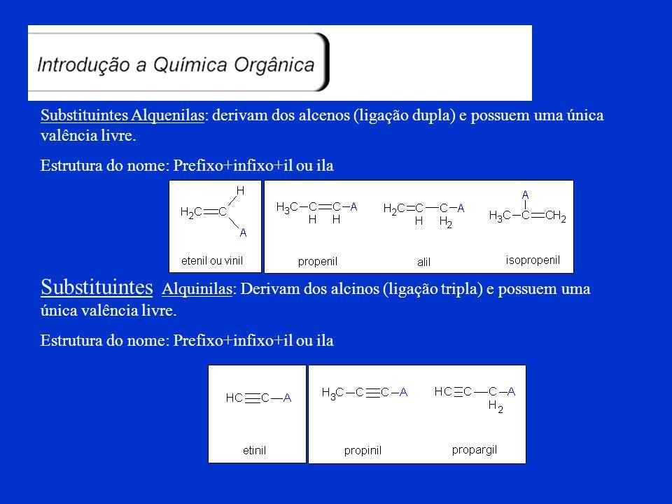 Substituintes Orgânicos: Substituintes alquilas: Derivam dos alcanos (saturados) e possuem uma única valência livre (elétron desemparelhado). Estrutur