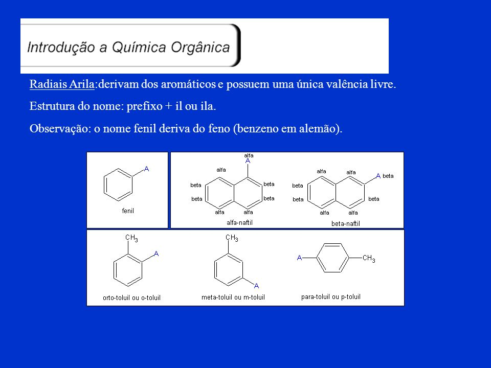 Substituintes Cíclicos:derivam dos ciclanos (saturados) e possuem uma única valência livre. Estrutura do nome: ciclo + prefixo+il ou ila Substituintes