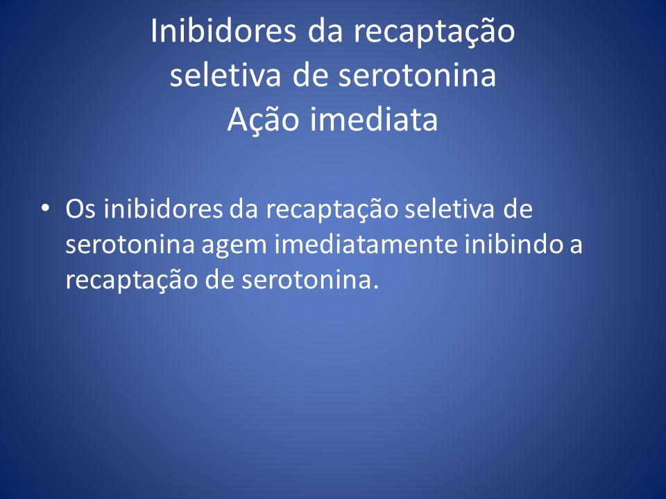 Inibidores da recaptação seletiva de serotonina Ação imediata Os inibidores da recaptação seletiva de serotonina agem imediatamente inibindo a recapta