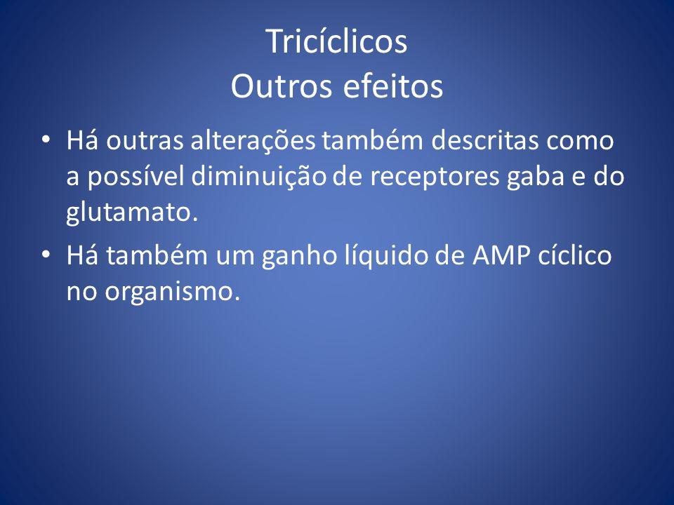 Tricíclicos Outros efeitos Há outras alterações também descritas como a possível diminuição de receptores gaba e do glutamato. Há também um ganho líqu