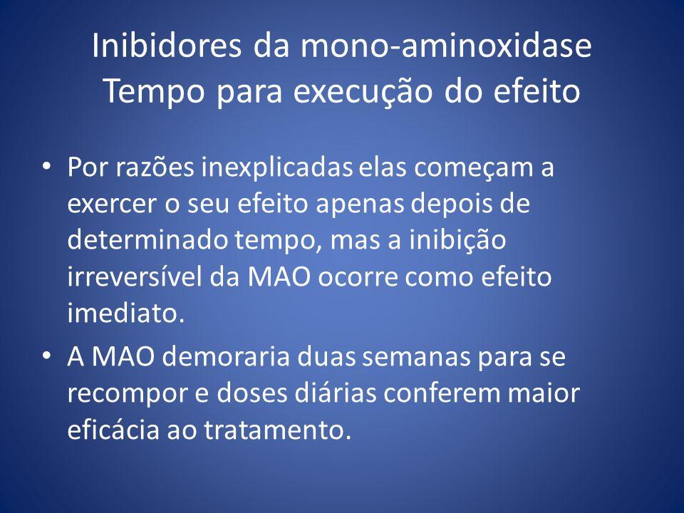 Inibidores da mono-aminoxidase Tempo para execução do efeito Por razões inexplicadas elas começam a exercer o seu efeito apenas depois de determinado