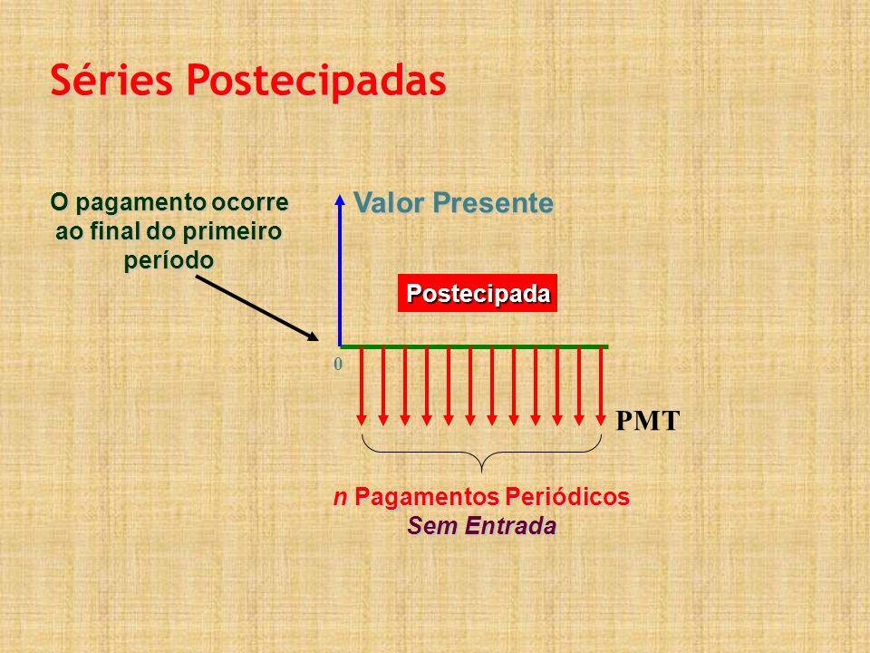 Valor Presente n Pagamentos Periódicos Sem Entrada 0 Postecipada Séries Postecipadas PMT O pagamento ocorre ao final do primeiro período